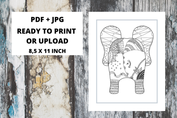 Print on Demand: Elephant Butt Zentangle Coloring Page 10 Graphic Coloring Pages & Books Adults By Fleur de Tango
