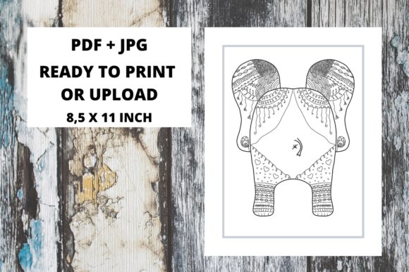 Print on Demand: Elephant Butt Zentangle Coloring Page 13 Graphic Coloring Pages & Books Adults By Fleur de Tango