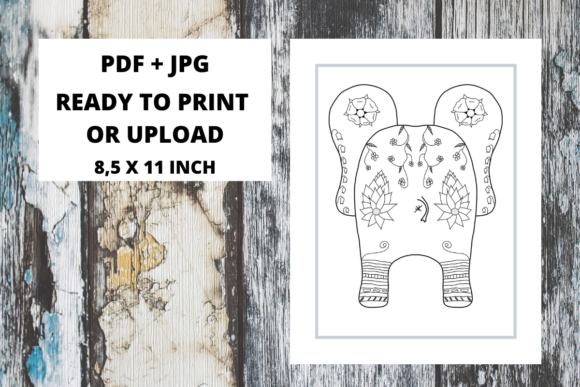 Print on Demand: Elephant Butt Zentangle Coloring Page 14 Graphic Coloring Pages & Books Adults By Fleur de Tango