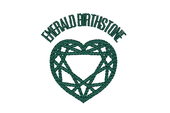 Emerald Birthstone Faceted Heart Birthdays Embroidery Design By Sun At Night Studios