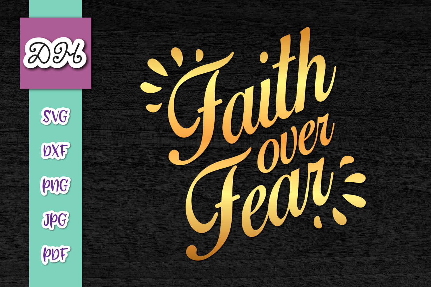 Download Free Faith Over Fear Inspiration Print Cut Graphic By Digitals By for Cricut Explore, Silhouette and other cutting machines.