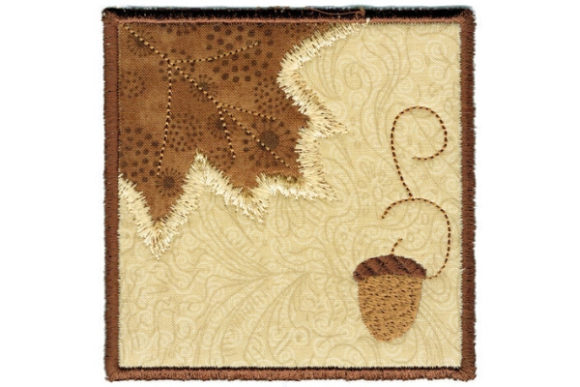 Fall Leaf Square Coaster Autumn Embroidery Design By Sue O'Very Designs