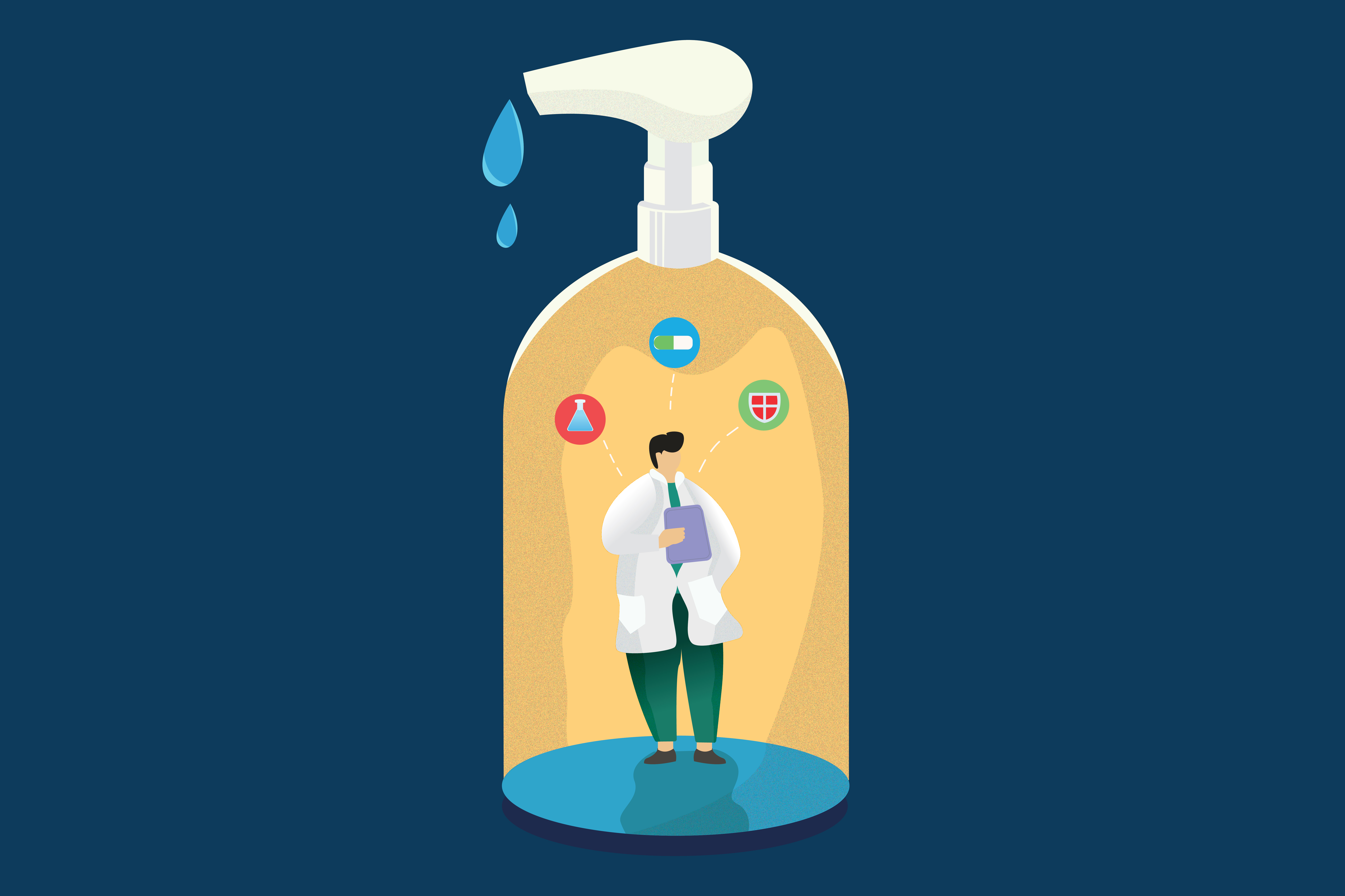 Download Free Flat Illustration Hand Sanitizer Graphic By Mamd Creative Fabrica PSD Mockup Template