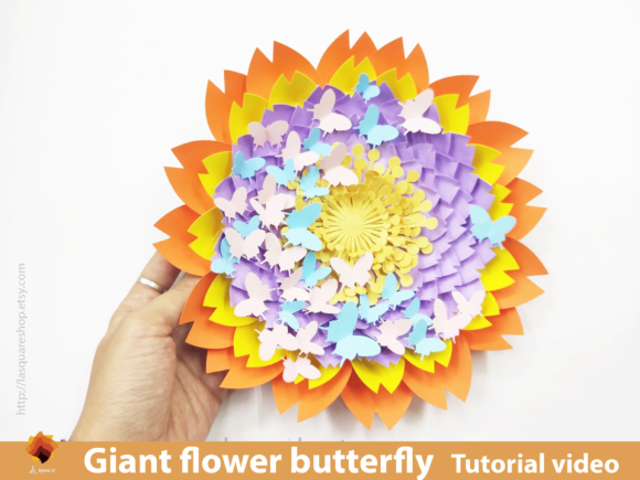 Download Free Giant Flower Butterfly Backdrop Template Graphic By Lasquare for Cricut Explore, Silhouette and other cutting machines.
