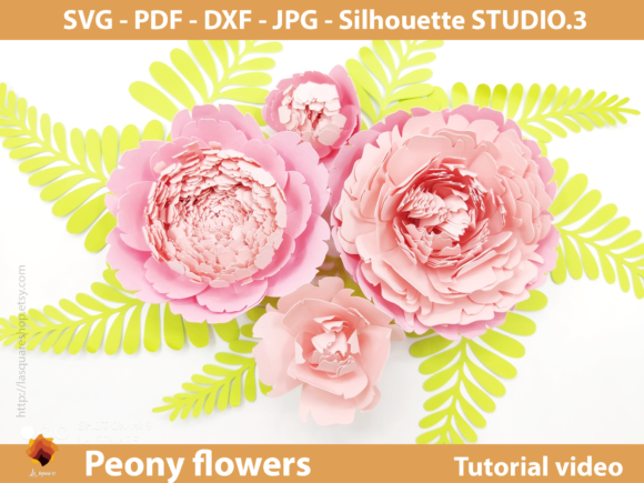 Download Free Giant Peony Paper Flowers Template Grafico Por Lasquare Info for Cricut Explore, Silhouette and other cutting machines.