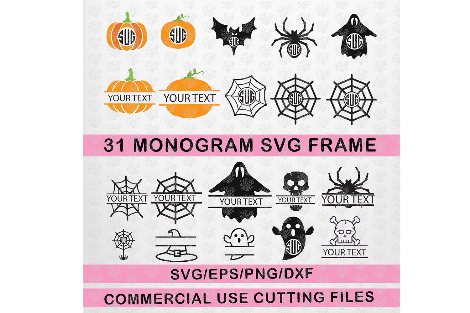 Download Free Halloween Monogram Frame Bundle Graphic By Coralcutssvg for Cricut Explore, Silhouette and other cutting machines.
