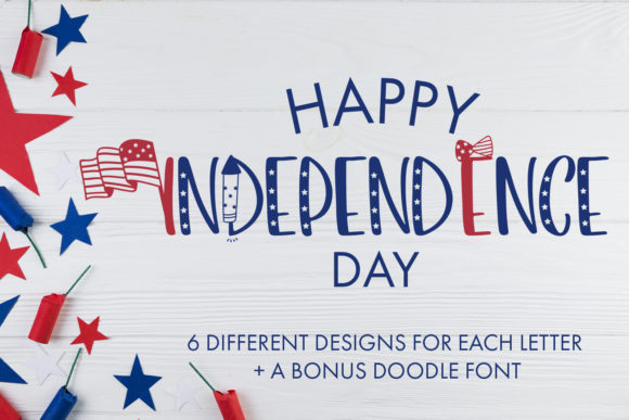 Download Free Happy Independence Day Font By Freelingdesignhouse Creative for Cricut Explore, Silhouette and other cutting machines.