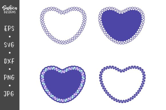Heart with Mermaid Scales  Graphic Crafts By sashica designs