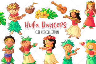 Download Free Hula Dancers Clip Art Collection Graphic By Keepinitkawaiidesign for Cricut Explore, Silhouette and other cutting machines.