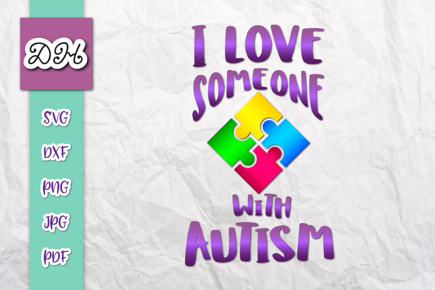 Download Free I Love Someone With Autism Print Cut Graphic By Digitals By for Cricut Explore, Silhouette and other cutting machines.