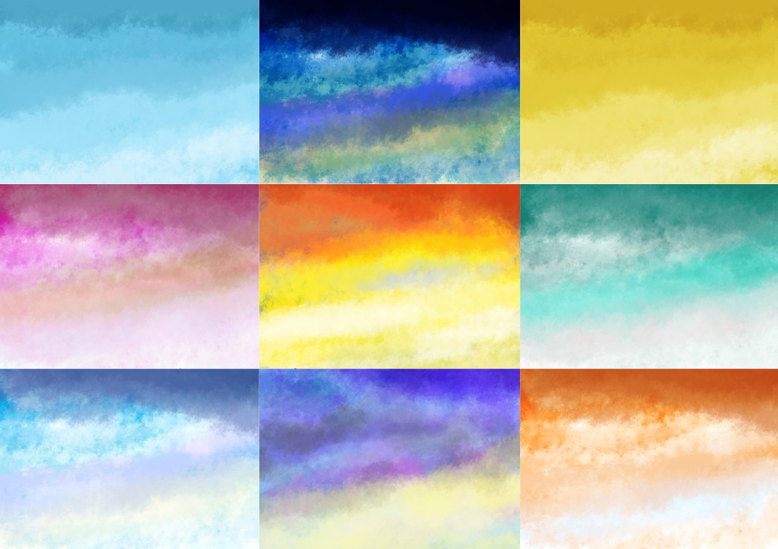 Download Free Illustrated Set Of 9 Sky Backgrounds Grafik Von Americodealmeida for Cricut Explore, Silhouette and other cutting machines.