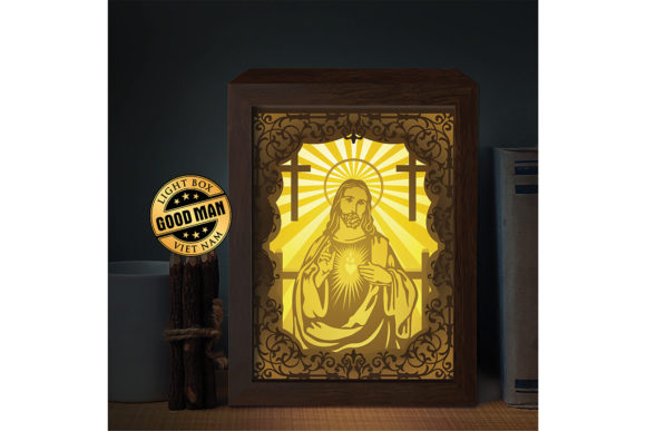 Jesus 6 1 3D Paper Cutting Light Box Graphic