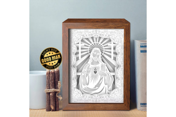 Jesus 6 1 3D Paper Cutting Light Box Graphic Download