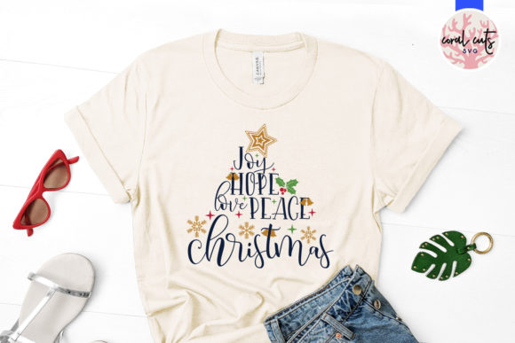 Download Free Joy Hope Love Peace Christmas Graphic By Coralcutssvg Creative Fabrica for Cricut Explore, Silhouette and other cutting machines.