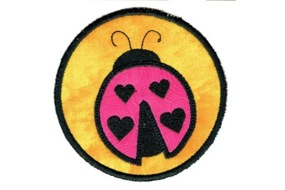 Ladybug Round Coaster Bugs & Insects Embroidery Design By Sue O'Very Designs