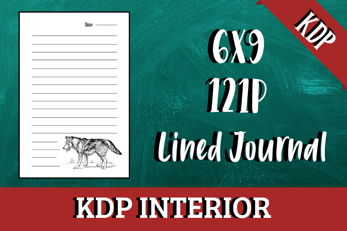 Download Free Lined Journal With Wolf Kdp Interior Graphic By Hungry Puppy for Cricut Explore, Silhouette and other cutting machines.