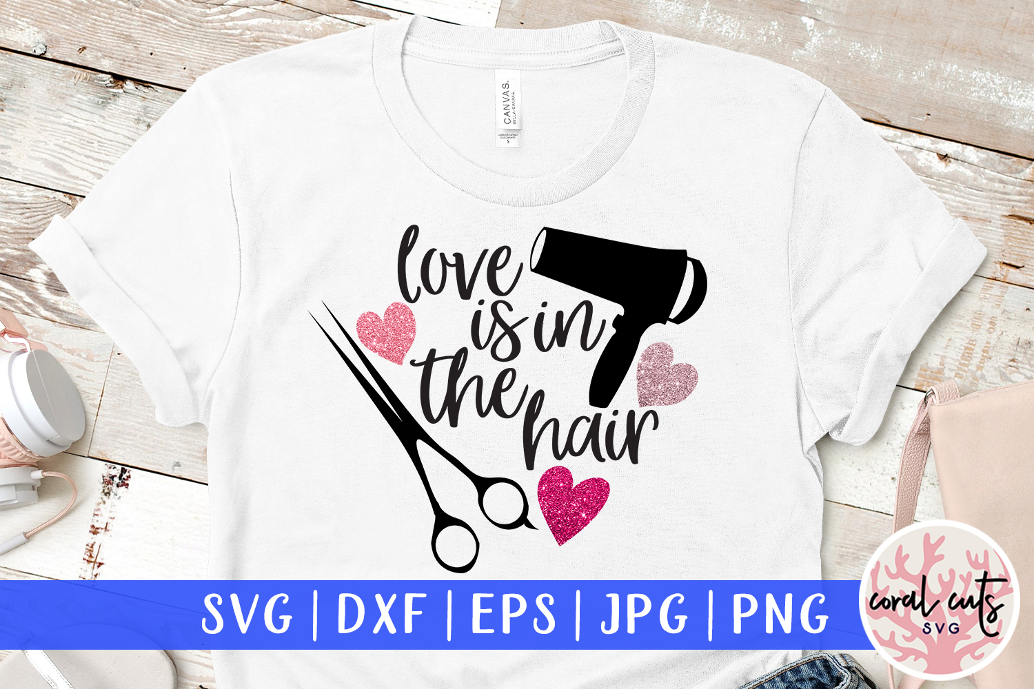 Download Free Love Is In The Hair Graphic By Coralcutssvg Creative Fabrica for Cricut Explore, Silhouette and other cutting machines.