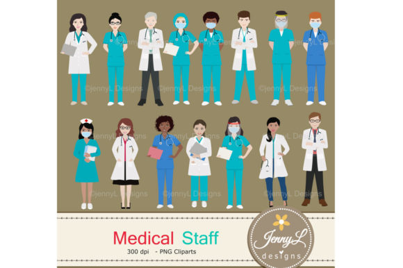 Download Free Medical Staff Doctor Digital Papers Graphic By Jennyl Designs for Cricut Explore, Silhouette and other cutting machines.
