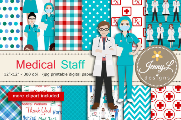 Medical Staff Doctor DIgital Papers Graphic Patterns By jennyL_designs