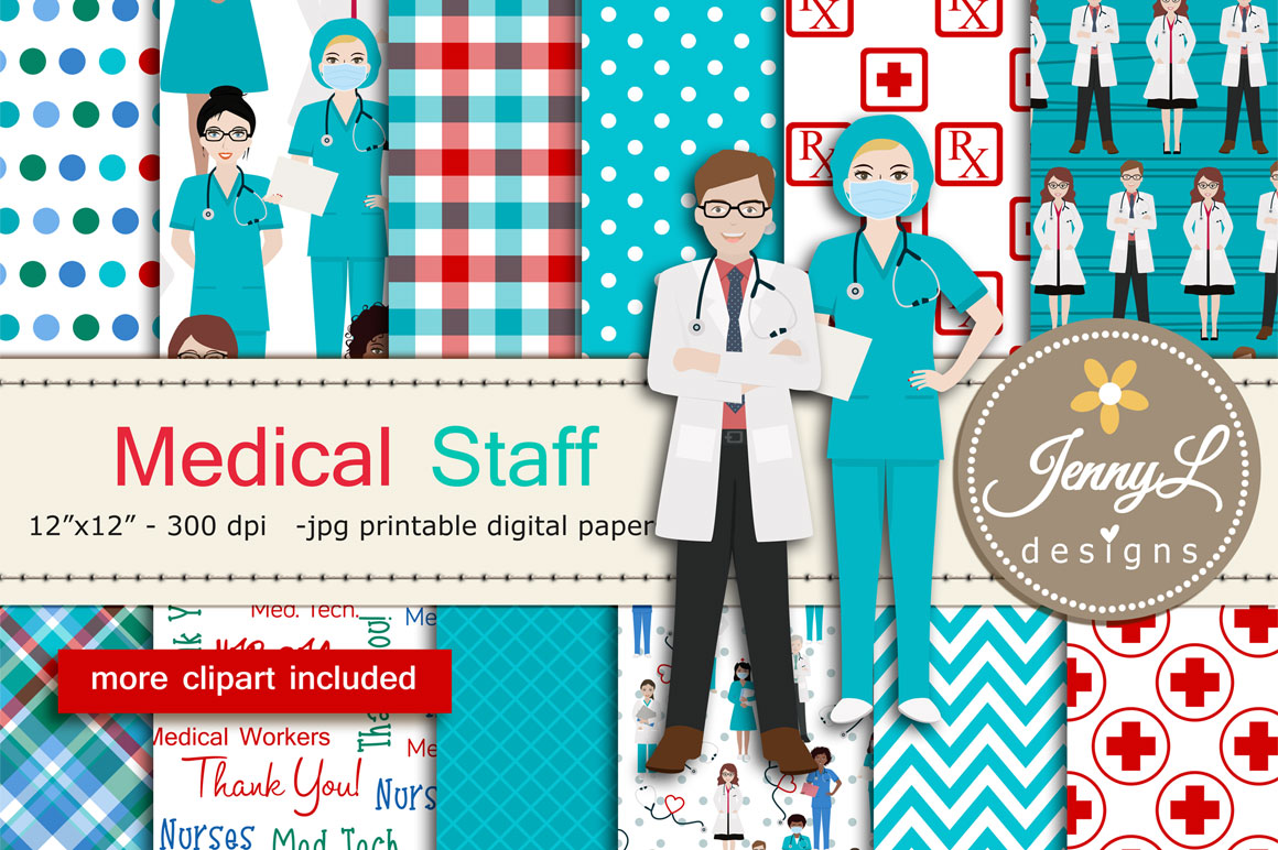 Download Free Medical Staff Doctor Digital Papers Grafico Por Jennyl Designs for Cricut Explore, Silhouette and other cutting machines.