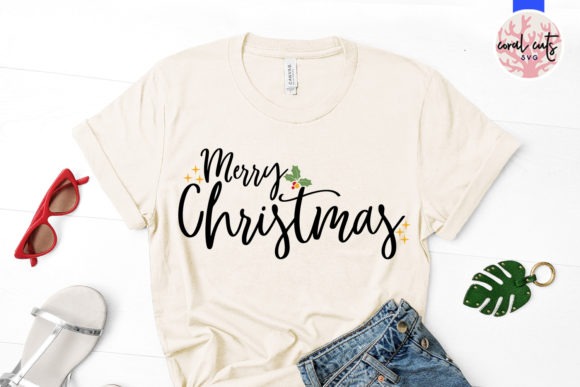 Download Free Merry Christmas Svg Cut File Graphic By Coralcutssvg Creative for Cricut Explore, Silhouette and other cutting machines.