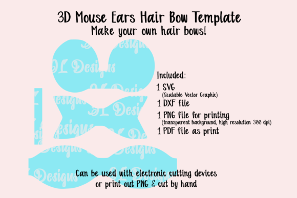 Print on Demand: Mouse Ears Bow Template Graphic 3D SVG By JL Designs