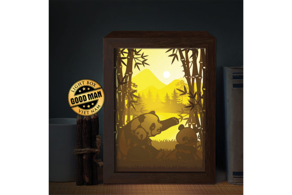 Panda 1 3D Paper Cutting Light Box Graphic 3D Shadow Box By LightBoxGoodMan