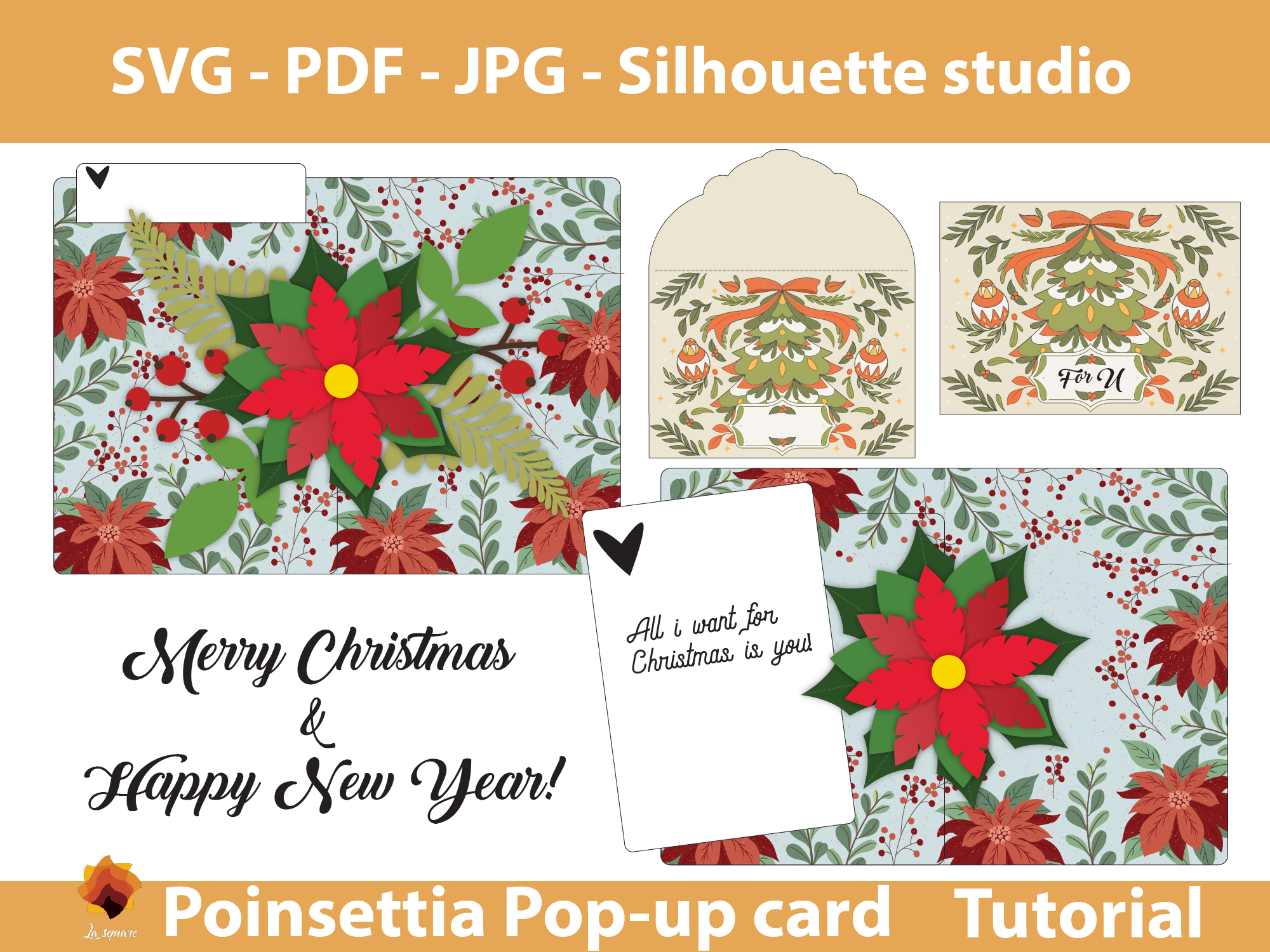 Download Free Poinsettia Pop Up 5x7 Greeting Card Graphic By Lasquare Info for Cricut Explore, Silhouette and other cutting machines.