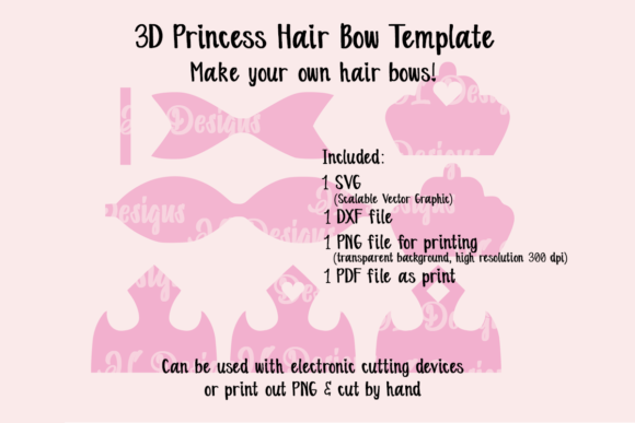 Print on Demand: Princess Crown Bow Template Gráfico SVG en 3D Por JL Designs