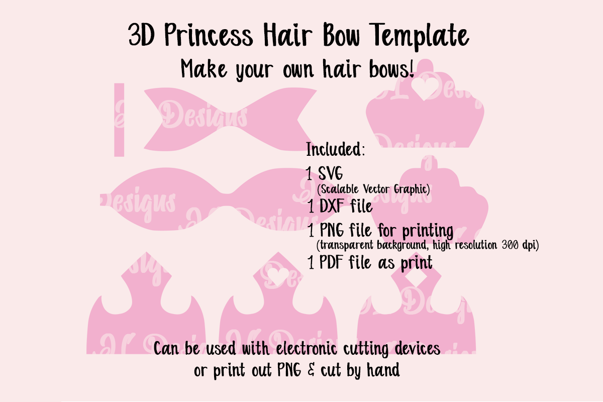 Download Free Princess Crown Bow Template Graphic By Jl Designs Creative Fabrica for Cricut Explore, Silhouette and other cutting machines.