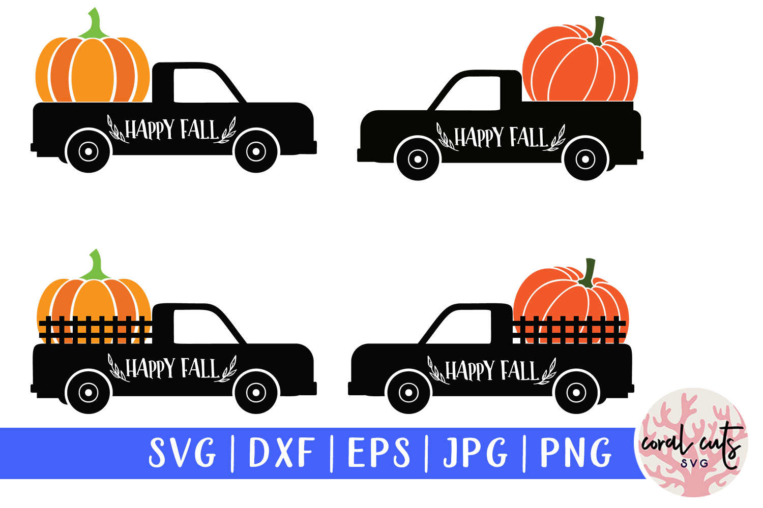 Download Free Pumpkin Truck Decoration Graphic By Coralcutssvg Creative Fabrica for Cricut Explore, Silhouette and other cutting machines.