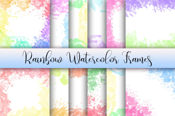 Rainbow Watercolor Frames Background Graphic Backgrounds By PinkPearly