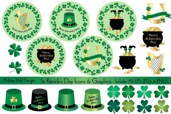 Saint Patrick's Day Icons & Graphics Graphic Illustrations By Melissa Held Designs