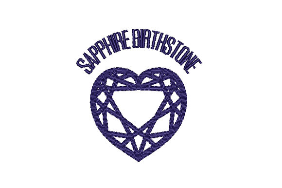 Sapphire Birthstone Faceted Heart Birthdays Embroidery Design By Sun At Night Studios