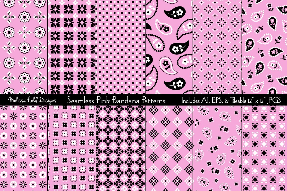 Download Free Seamless Pink Bandana Patterns Graphic By Melissa Held Designs for Cricut Explore, Silhouette and other cutting machines.