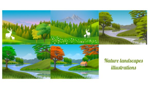 Set of 5 Illustrations with Landscapes Graphic Backgrounds By americodealmeida