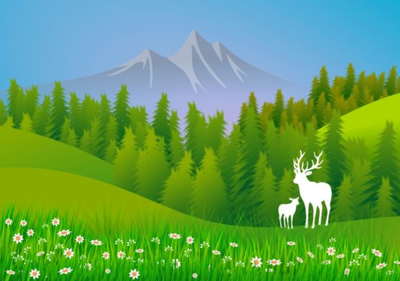 Download Free Set Of 5 Illustrations With Landscapes Graphic By for Cricut Explore, Silhouette and other cutting machines.