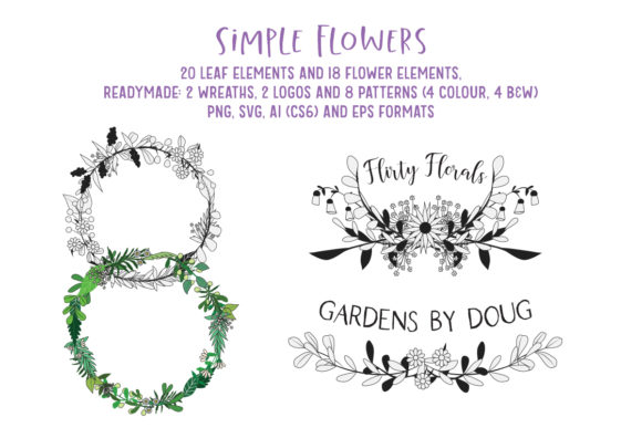 Download Free Simple Flowers Elements Wreaths Logos Graphic By My Little for Cricut Explore, Silhouette and other cutting machines.