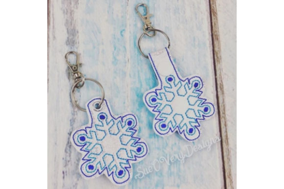 Snowflake Key Fob Accessories Embroidery Design By Sue O'Very Designs