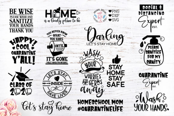 Print on Demand: Stay Home Stay Safe Bundle Graphic Crafts By GraphicHouseDesign