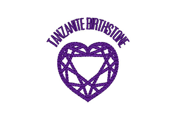 Tanzanite Birthstone Faceted Heart Birthdays Embroidery Design By Sun At Night Studios