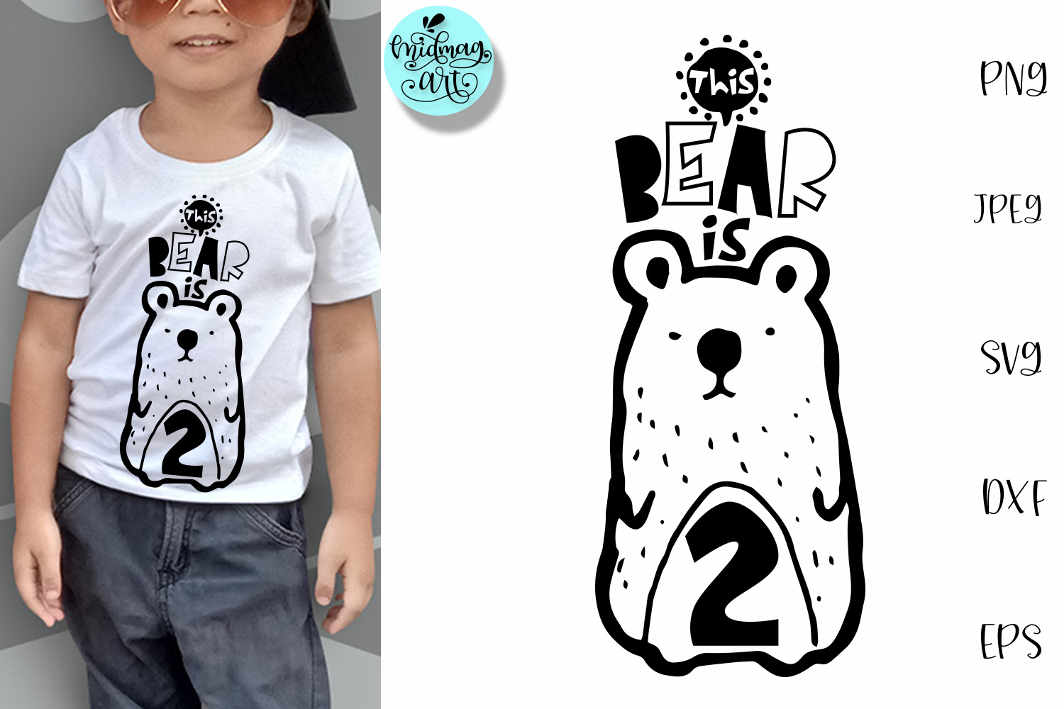 Download Free This Bear Is Two 2nd Birthday Graphic By Midmagart Creative for Cricut Explore, Silhouette and other cutting machines.