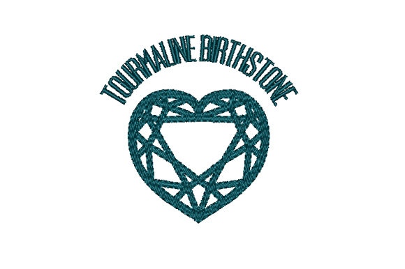 Tourmaline Birthstone Faceted Heart Birthdays Embroidery Design By Sun At Night Studios
