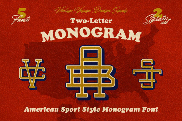 Print on Demand: Two Letter Monograms Display Font By vintagevoyageco