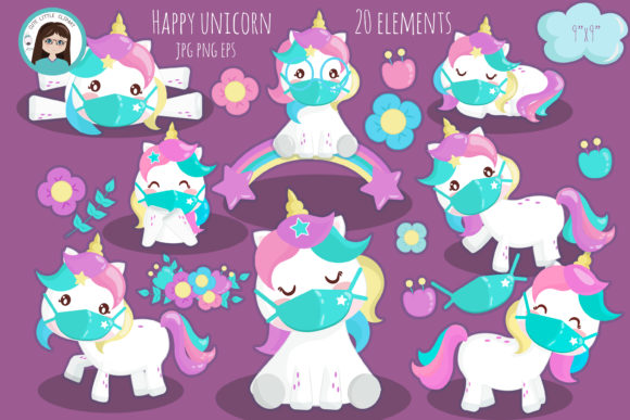 Unicorn with Mask Clipart Graphic Illustrations By CuteLittleClipart