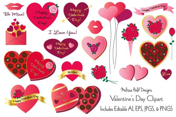Download Free Valentine S Day Clipart Graphic By Melissa Held Designs for Cricut Explore, Silhouette and other cutting machines.
