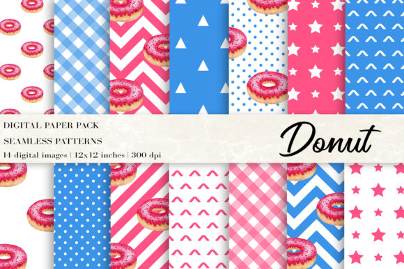 Waterclor Donut Digital Papers Graphic Patterns By BonaDesigns
