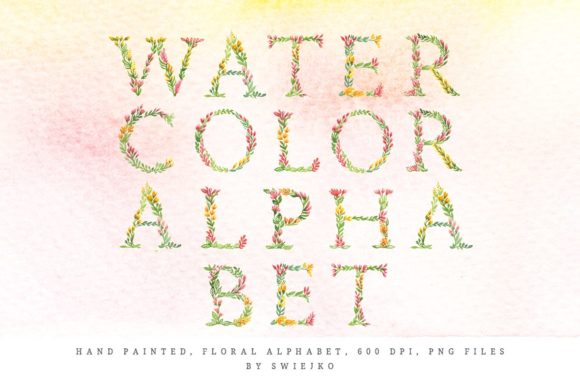 Print on Demand: Watercolor Floral Alphabet Graphic Illustrations By swiejko