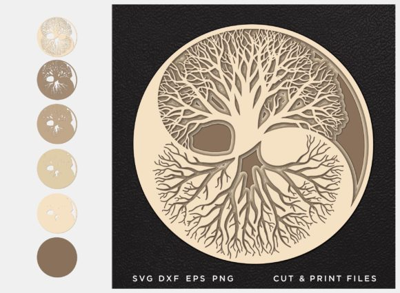 Download Free Yin And Yang In 3d Tree Of Life Graphic By 2dooart Creative for Cricut Explore, Silhouette and other cutting machines.