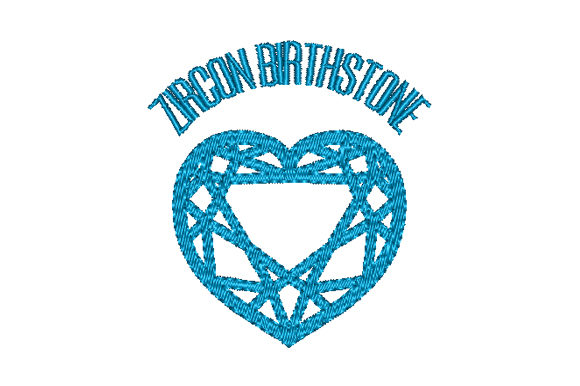 Zircon Birthstone Faceted Heart Birthdays Embroidery Design By Sun At Night Studios
